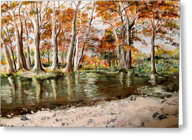 Rivers In The Fall Paintings Greeting Cards - Frio Fall 2 Greeting Card by Beth Waltman