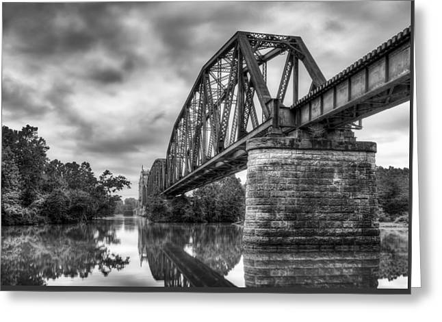 Fort Smith Arkansas Greeting Cards - Frisco Bridge in Monochrome Greeting Card by James Barber