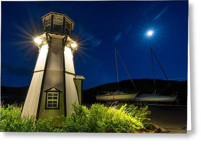 Colorado Mountains Greeting Cards - Frisco Moonlit Lighthouse Greeting Card by Michael J Bauer