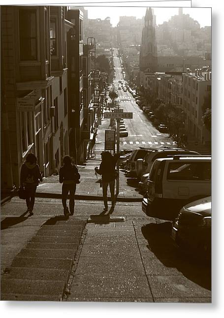 Aidan Moran Photography Greeting Cards - Frisco Steps - San Francisco Greeting Card by Aidan Moran