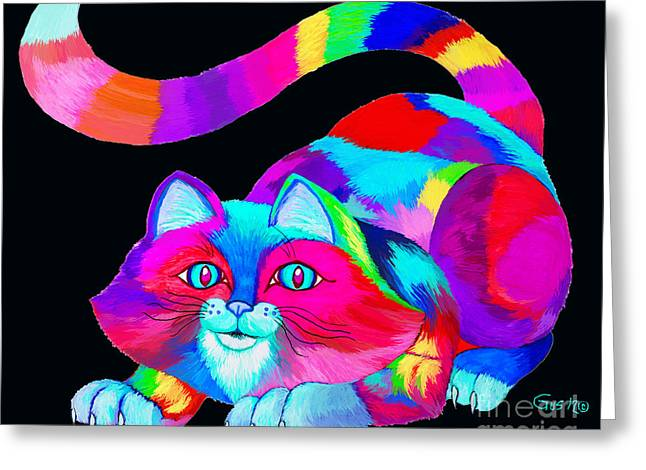 Cat Drawings Greeting Cards - Frisky colorful Cat 2 Greeting Card by Nick Gustafson