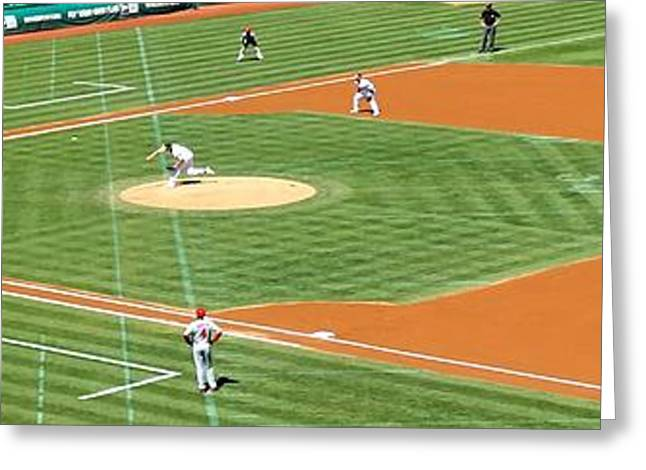 Baseball Bat Greeting Cards - Frist Pitch Of A  As Game  Greeting Card by Eric Martin