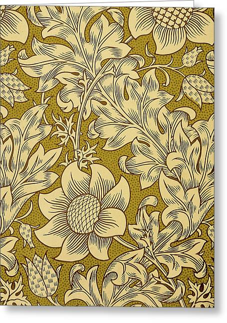 Print Tapestries - Textiles Greeting Cards - Fritillary Design 1885 Greeting Card by William Morris