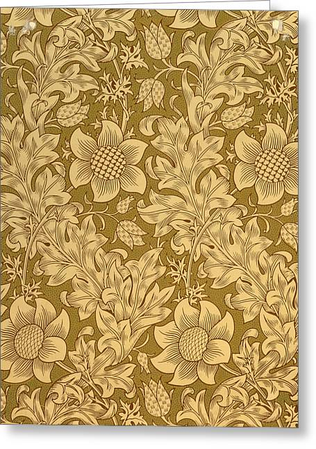 Green And Yellow Tapestries - Textiles Greeting Cards - Fritillary wallpaper design Greeting Card by William Morris