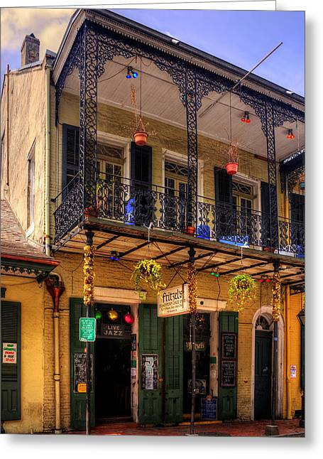 Chrystal Greeting Cards - Fritzels European Jazz Pub New Orleans Greeting Card by Chrystal Mimbs
