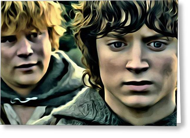 Lord Of The Rings Greeting Cards - Frodo and Samwise Greeting Card by Florian Rodarte