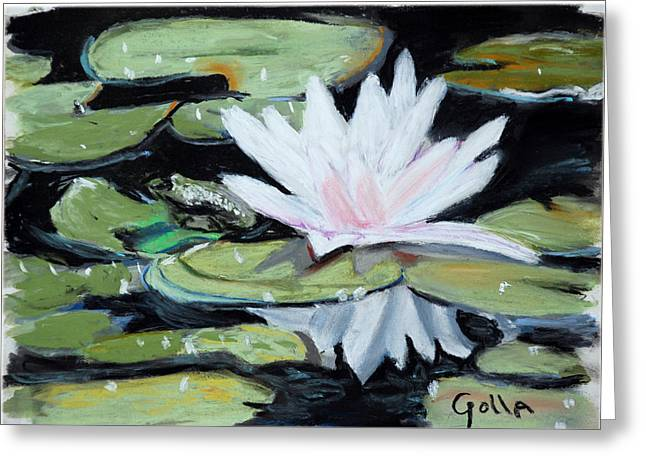 Amphibians Pastels Greeting Cards - Frog and Lily Greeting Card by Lawrence Golla