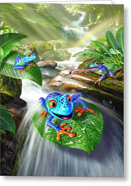 Frog Capades Greeting Card by Jerry LoFaro