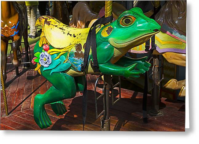 Amusements Greeting Cards - Frog carrousel ride Greeting Card by Garry Gay