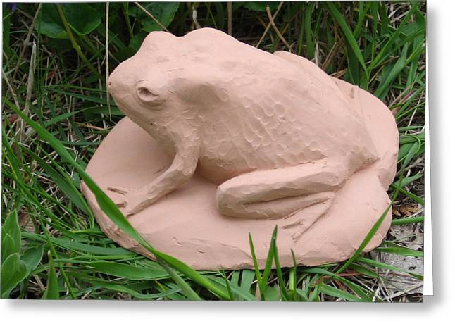Amphibians Sculptures Greeting Cards - Toad Greeting Card by Deborah Dendler