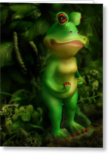 Anthropomorphism Greeting Cards - Frog Greeting Card by Diane Bradley