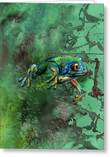 Amphibians Pastels Greeting Cards - Frog emerge Greeting Card by Ole Hedeager Mejlvang