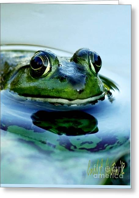 Green Frog I Only Have Eyes For You Greeting Card by Carol F Austin
