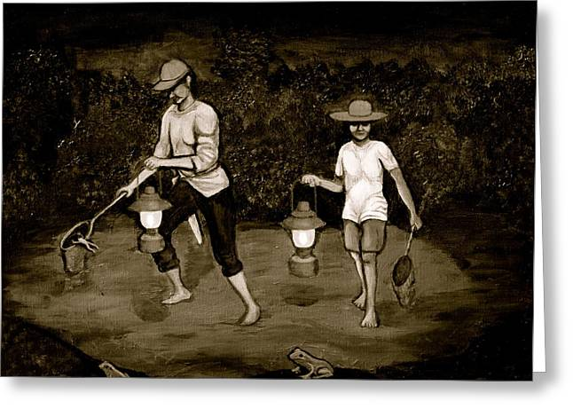 Cyril Maza Greeting Cards - Frog Hunters Black and White Photograph Version Greeting Card by Cyril Maza