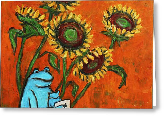 Frog i Padding amongst Sunflowers Greeting Card by Xueling Zou