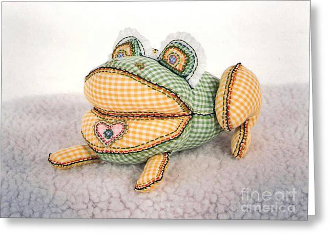 Amphibians Tapestries - Textiles Greeting Cards - Frog Greeting Card by Joy Calonico