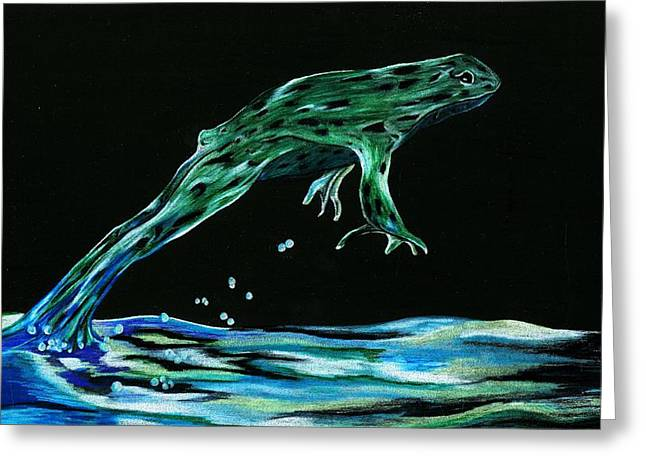 Puddle Mixed Media Greeting Cards - Jump Frog Jump Greeting Card by Shattered VisAbility
