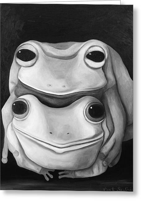 Doggy-style Greeting Cards - Frog Love-The Embrace edit 2 Greeting Card by Leah Saulnier The Painting Maniac