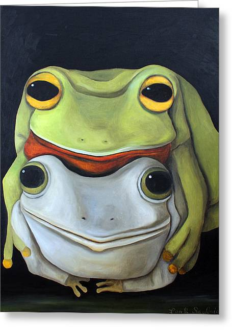 Doggy-style Greeting Cards - Frog Love-The Embrace Greeting Card by Leah Saulnier The Painting Maniac