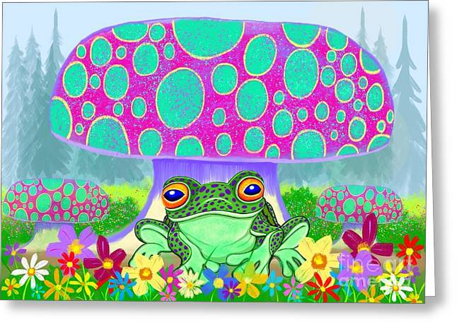 Amphibians Digital Art Greeting Cards - Frog mushrooms and flowers Greeting Card by Nick Gustafson