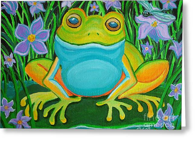 Frog on a lily pad Greeting Card by Nick Gustafson