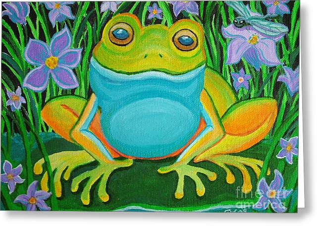 Dragonflies Greeting Cards - Frog on a lily pad Greeting Card by Nick Gustafson