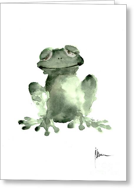 Frog Painting Watercolor Art Print Green Frog Large Poster Greeting Card by Joanna Szmerdt