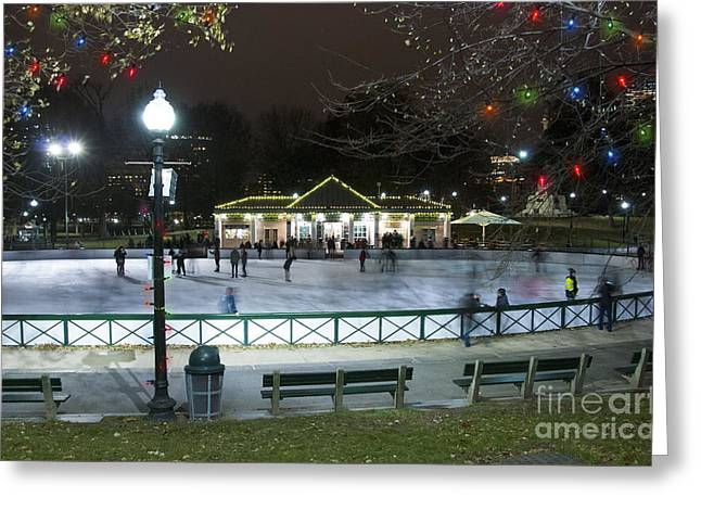 Holiday Decoration Greeting Cards - Frog Pond Ice Skating Rink in Boston Commons Greeting Card by Juli Scalzi