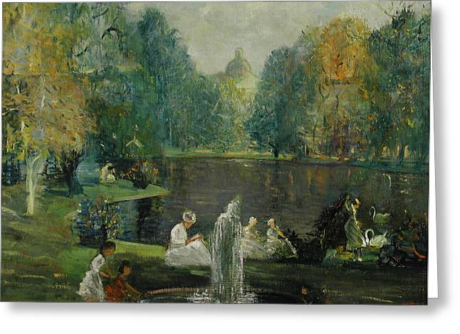 Botanical Figures Greeting Cards - Frog Pond in Boston Public Gardens Greeting Card by Arthur Clifton Goodwin