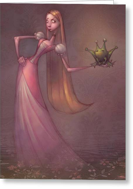 Cute Digital Art Greeting Cards - Frog Prince Greeting Card by Adam Ford