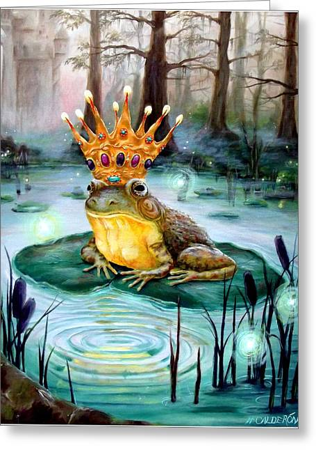 Heather Paintings Greeting Cards - Frog Prince Greeting Card by Heather Calderon