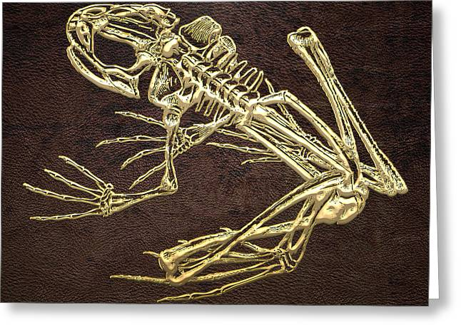 Brown Frog Greeting Cards - Frog Skeleton in Gold on Brown  Greeting Card by Serge Averbukh