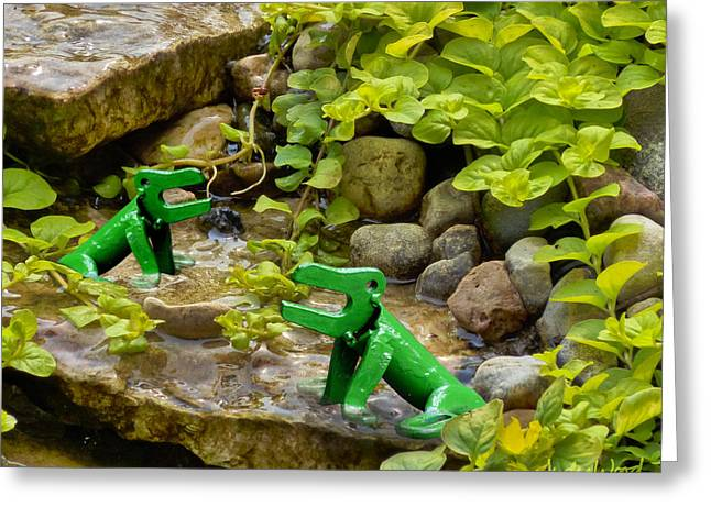 Amphibians Sculptures Greeting Cards - Frog Song Greeting Card by Ric Pollock