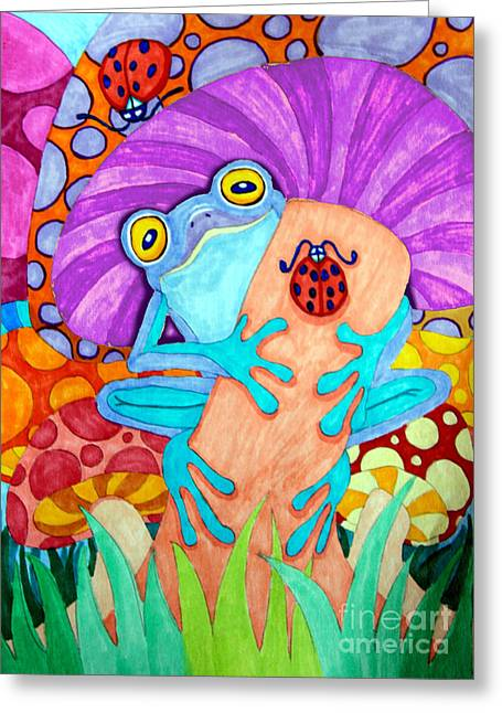 Amphibians Drawings Greeting Cards - Frog Under a Mushroom Greeting Card by Nick Gustafson
