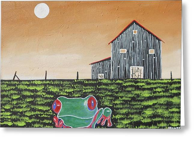 Old Fence Posts Paintings Greeting Cards - Froggie Painting Greeting Card by Robert Anthony Montesino