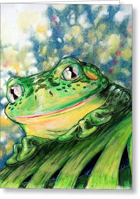 Amphibians Pastels Greeting Cards - Froggy Greeting Card by David Guentert