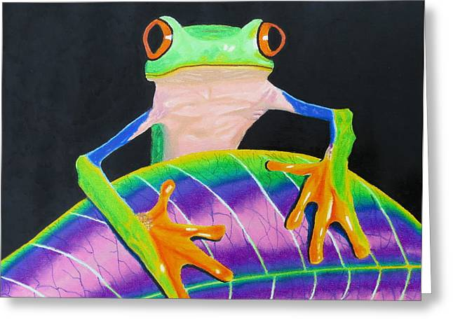 Tree Frog Pastels Greeting Cards - Froggy Greeting Card by David Perfors