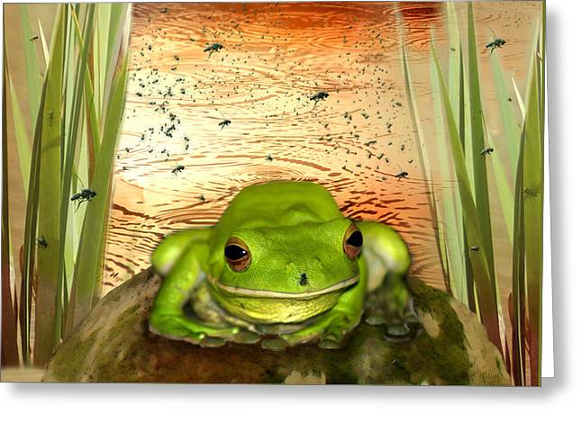 Flies Greeting Cards - Froggy Heaven Greeting Card by Holly Kempe