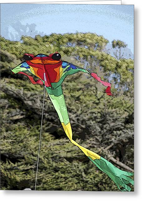 Flying Frog Greeting Cards - Froggy Kite Greeting Card by Joie Cameron-Brown