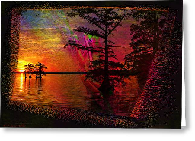 Waterscape Digital Art Greeting Cards - Froggy Morning Sunrise Greeting Card by J Larry Walker