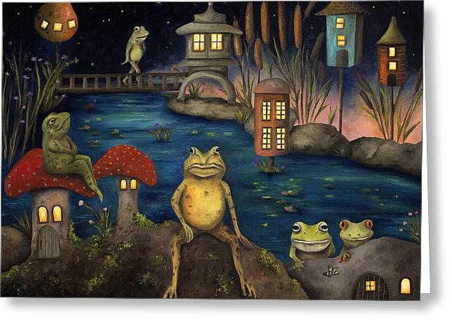 Moss Green Greeting Cards - Frogland Greeting Card by Leah Saulnier The Painting Maniac