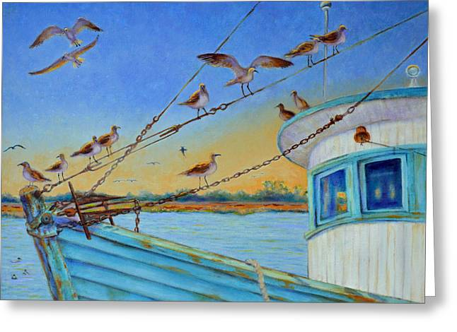Frogmore Greeting Cards - Frogmore Shrimp Birds Greeting Card by Dwain Ray