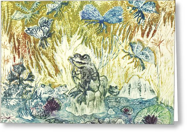 Drypoint Greeting Cards - Frogs Greeting Card by Milen Litchkov