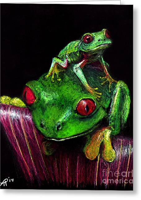 Amphibians Pastels Greeting Cards - Frogs Pastel Greeting Card by Tanya Hamell