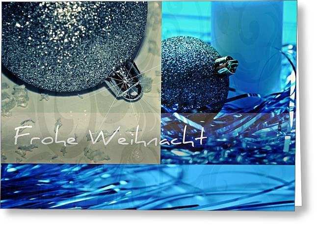 Silber Greeting Cards - Frohe Weihnacht Greeting Card by Pimpinella Art