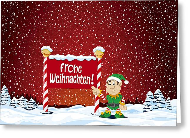 Weihnachten Greeting Cards - Frohe Weihnachten Sign Christmas Elf Winter Landscape Greeting Card by Frank Ramspott