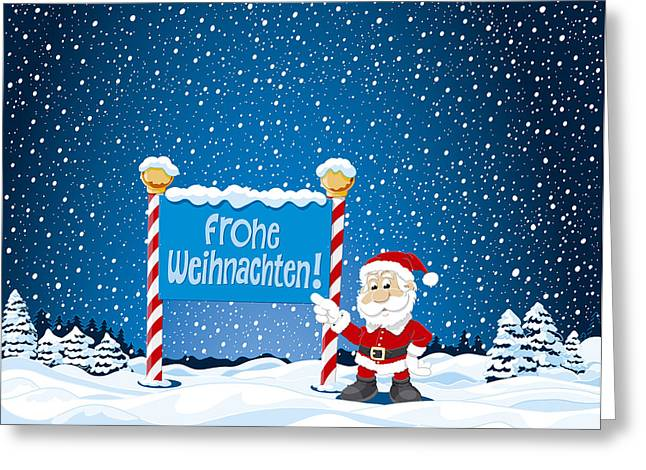 Frohe Greeting Cards - Frohe Weihnachten Sign Santa Claus Winter Landscape Greeting Card by Frank Ramspott