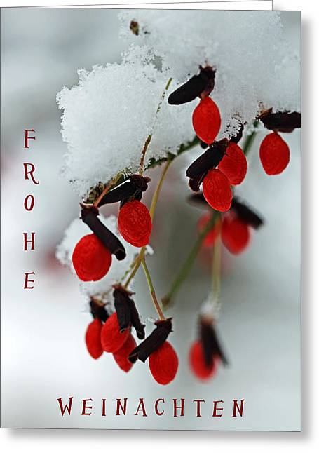 Frohe Greeting Cards - Frohe Weinachten Greeting Card by Debbie Oppermann