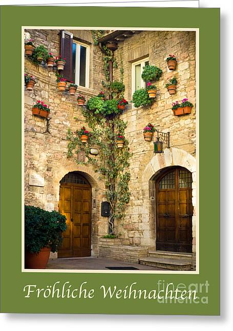 X-mas Card Greeting Cards - Frohliche Weihnachten with a Corner of Assisi Greeting Card by Prints of Italy
