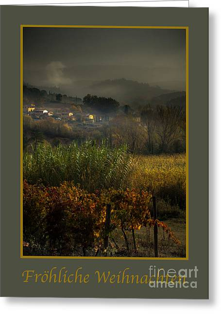 Tuscan Valley Greeting Cards - Frohliche Weihnachten with Foggy Tuscan Valley Greeting Card by Prints of Italy
